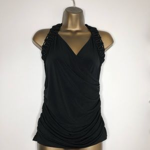 Cache black tank top with woven straps